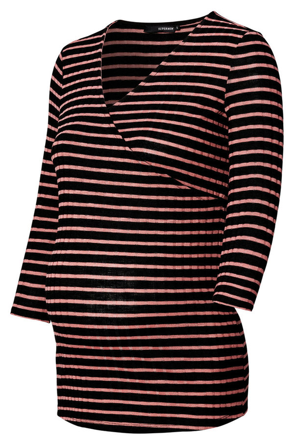 "Supermom Maternity Still- Shirt  ""Stripe"" /Rosette"